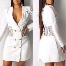 Robe de Blazer Elégante à la Mode Sexy à Revers à Double-Boutonnage avec les Détails en Dentelle