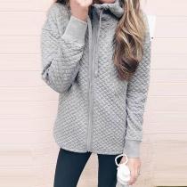 Fashion Solid Color Long Sleeve Hooded Sweatshirt Coat