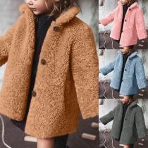 Veste Douce Mignonne à la Mode à Manches Longues en Pilou Pour les Enfants