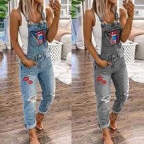 Jeans Stylé à la Mode Salopette-Style à Imprimés de Lèvres