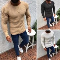 Pull/Sweater Doux Stylé à la Mode à Manches Longues en Tricot Pour les Hommes