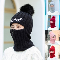 Bonnet Tricoté Doux Mignon Chic à la Mode avec un Design de Masque