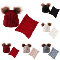 Fashion Hairball Spliced Children Knit Beanies + Infinity Scarf Two-piece Set