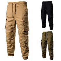 Fashion Solid Color Side-pocket Elastic Waist Man's Pants
