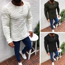 Sweater Doux Stylé à la Mode au Col Rond à Manches Longues en Tricot Pour les Hommes