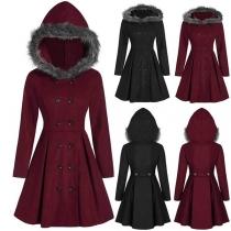 Manteau/Veste Douce Stylée à la Mode à Capuche avec les Fourrures Synthétiques à Double-Boutonnage