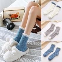 Fashion Contrast Color Plush Socks  2 pairs/set