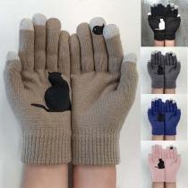 Gants Doux Mignons à la Mode en Couleur Contrastée à Imprimés de Chat en Tricot