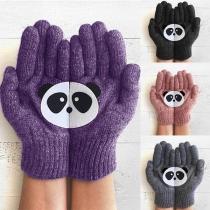 Gants Doux Mignons à la Mode à Imprimés de Panda en Tricot