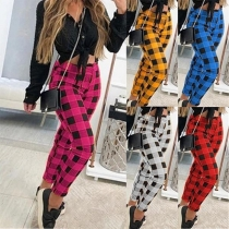Fashion High Waist Slim Fit Plaid Pants