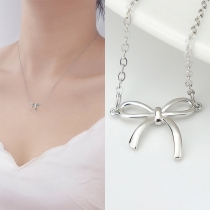 Fashion Bow-knot Pendant Silver-tone Necklace