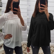 Sexy Hollow Out Lace Spliced Mock Neck Long Sleeve Loose Top
