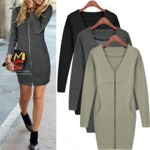 MODE GRANDE TAILLE---Robe Elégante Douce à la Mode Encolure V Zippée à Manches Longues