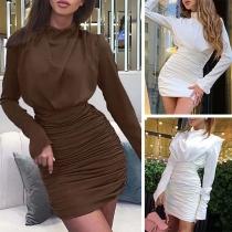 Robe Elégante à la Mode à Manches Longues à la Taille Haute avec un Design Plissé