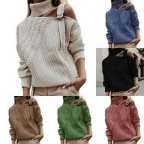Sweater Doux Stylé à la Mode Sexy Epaule Dénudée à Boucle en Tricot