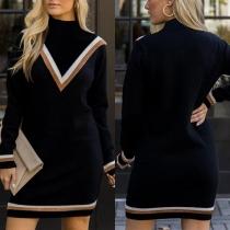 Robe Elégante à la Mode en Couleur Contrastée à Manches Longues