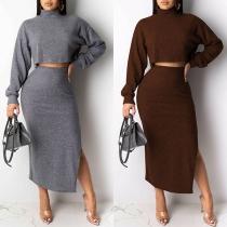Sexy Long Sleeve Turtleneck Crop Top + Slit Hem Skirt Knit Two-piece Set