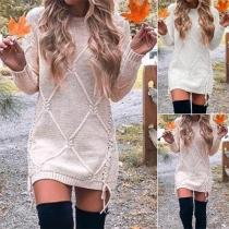 Robe de Sweater Douce Elégante à la Mode en Tricot avec un Design à Lacets