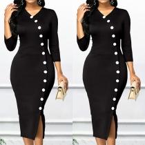 Robe Noire Elégante à la Mode Sexy Encolure V à Manches 3/4 avec les Boutons