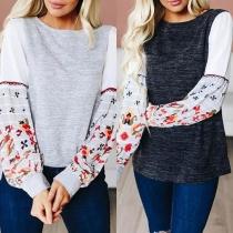 Fashion Printed Spliced Long Sleeve Round Neck Contrast Color Sweatshirt