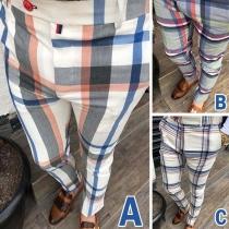 Pantalon Stylé à la Mode en Couleur Contrastée à Carreaux Pour les Hommes