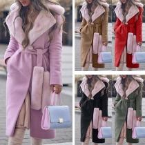 Manteau/Veste Stylée à la Mode à Revers avec les Fourrures Synthétiques