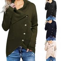 Fashion Solid Color Long Sleeve Lapel Irregular Hem Knit Cardigan