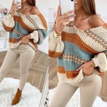 Sweater Ample Doux Stylé à la Mode en Couleur Contrastée Encolure V en Tricot