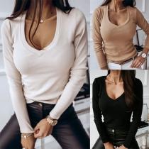 Tee-Shirt Doux Stylé à la Mode Encolure V à Manches Longues