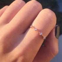 Fresh Style Rhinestone Inlaid Alloy Ring