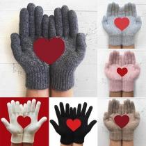 Gants Doux Mignons à la Mode à Imprimés de Cœur en Tricot