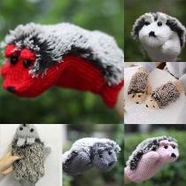 Cute Cartoon Hedgehog Shaped Knit Gloves