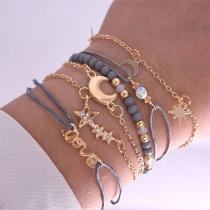 Bracelet de 6-Pièces Doux Stylé Chic à la Mode avec les Cristaux