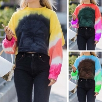 Fashion Color Gradient Long Sleeve Round Neck Sweatshirt