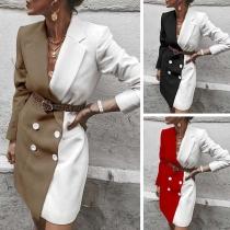 Veste Robe-Style Elégante Douce à la Mode en Couleur Contrastée à Revers à Double-Boutonnage