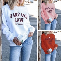 Fashion Letters Printed Long Sleeve Round Neck Sweatshirt
