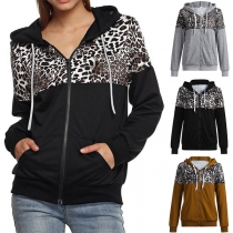 Fashion Leopard Spliced Long Sleeve Hooded Sweatshirt Coat