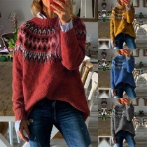 Retro Style Long Sleeve Round Neck Printed Loose Sweater