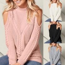 Sweater Doux Stylé à la Mode Sexy Epaules Dénudées à Manches Longues en Tricot