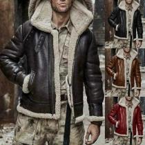 Fashion Long Sleeve Hooded Plush Lining Man's PU Leather Coat