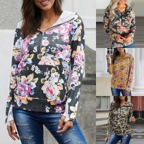 Fashion Long Sleeve Hooded Printed Sweatshirt