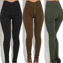 Pantalon Moulant Stylé à la Mode à la Taille Haute