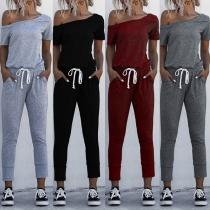 Combinaison Stylée à la Mode Sexy Epaule-Oblique à Manches Courtes Froncée à la Taille