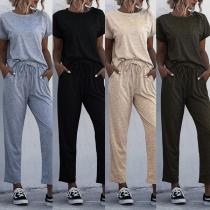 Deux-Pièces Stylé à la Mode:Tee-Shirt à Manches Courtes+Pantalon