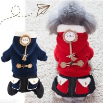 Vêtements Pour les Animaux Doux Mignon à la Mode à Capuche avec une Doublure en Pilou