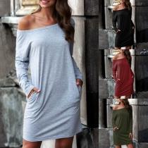 Robe de Tee-Shirt Simple Douce à la Mode au Col Rond à Manches Longues