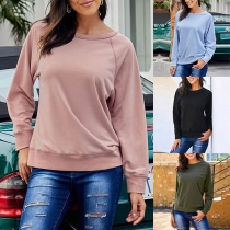 Casual Style Long Sleeve Round Neck Solid Color Sweatshirt