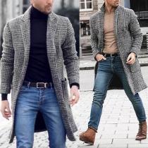 Manteau/Veste Stylée à la Mode à Revers à Carreaux à Manches Longues Pour les Hommes