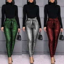 Pantalon Moulant Stylé à la Mode Pailleté à la Taille Haute