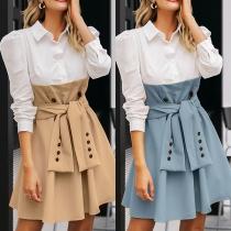Robe Elégante à la Mode en Couleur Contrastée au Col Polo à la Taille Haute avec un Design Noué